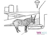Colouring sheet of Christopher Woods's Zebra and Parachute