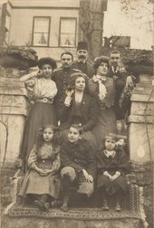 The artist (seated on the left) with her family, Büyükada c.1910