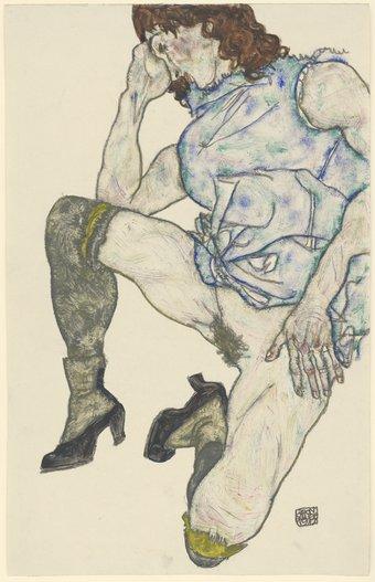 Egon Schiele, Squatting Girl 1917 © Staatliche Graphische Sammlung München