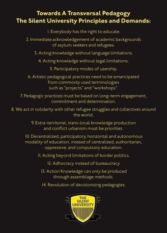 """Fig.10 Ahmet Ögüt, """"Verso una pedagogia trasversale: i principi e le esigenze della Silent University"""", dichiarazione pubblicata sul sito web della Silent University, fondata nel 2012"""