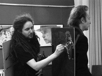Fig.13 Arte / non arte (David Dobz O'Brien, a sinistra, e Fergal Gaynor, a destra) al simposio di Beuys al Goethe Institute, Dublino, 2006