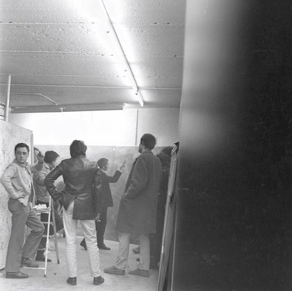 Fig.12 Un incontro nello studio di Gerhard Richter a Düsseldorf, 29 gennaio 1970, durante i preparativi per la mostra Strategia: Get Arts presso l'Edinburgh College of Art, 1970