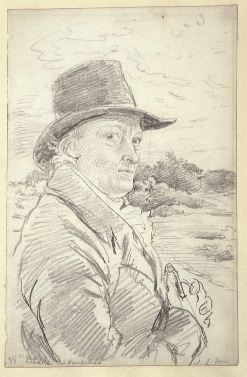 drawing of a man in a dark hat outside
