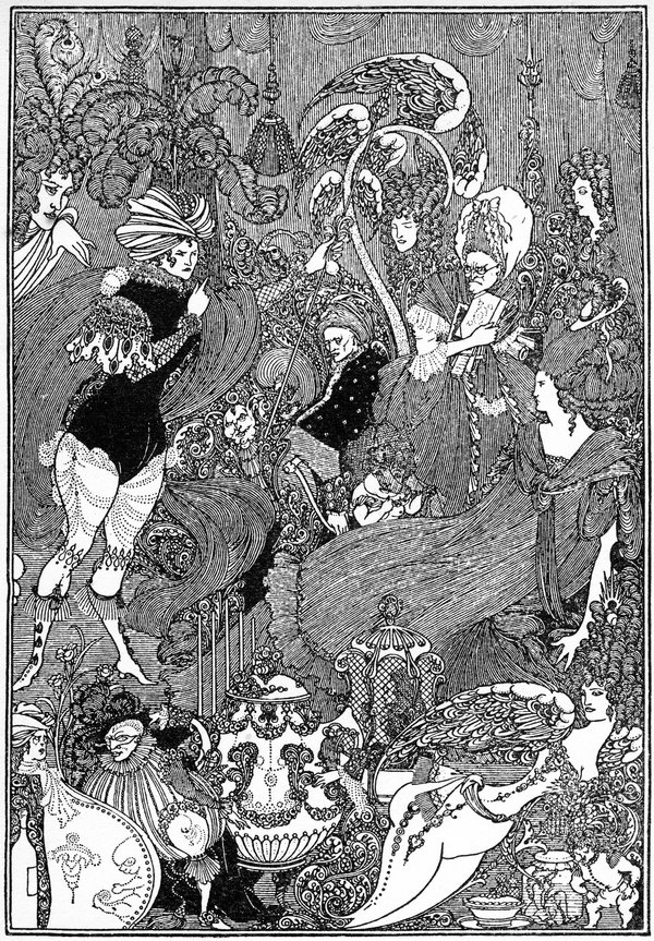Very detailed decorative illustration showing many characters in decadent dress