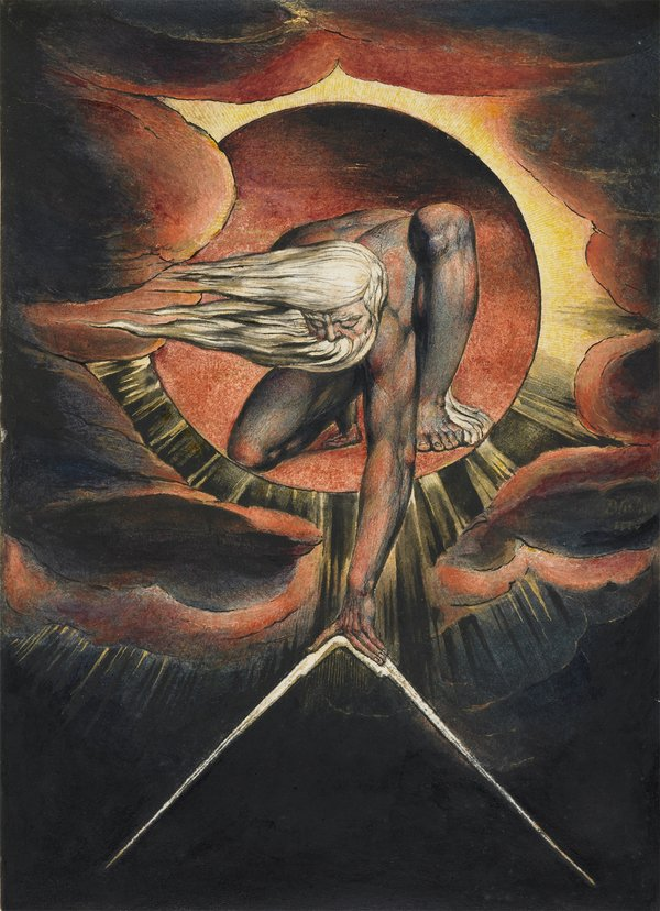 Image of a famous Blake painting in which a male figure with streaming white hair leans out of a circle of gold to plunge spread compasses into the earth below