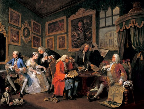 Hogarth hogarth 39 s modern moral series marriage a la mode for Artist mural contract