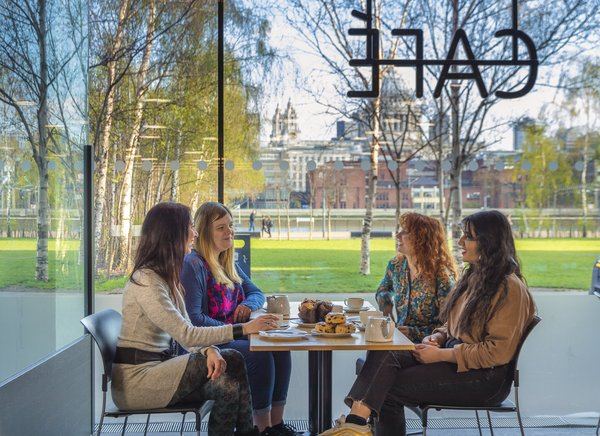four women at a table in the Tate modern cafe