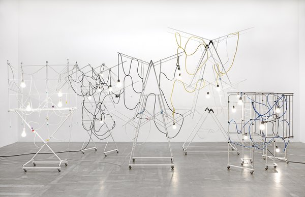 A photograph of the installation view of Non-Indépliables, nues by artist Haegue Yang