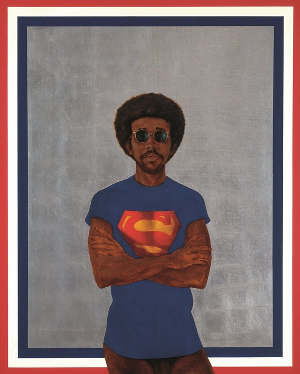 Barkley Hendricks, Icon for My Man Superman (Superman Never Saved any Black People--Bobby Seale), 1969. Oil, acrylic and aluminium leaf on linen canvas, 1511.3 x 1219.2 mm