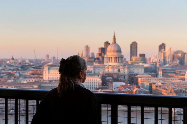A person on the Viewing Level of Tate Modern