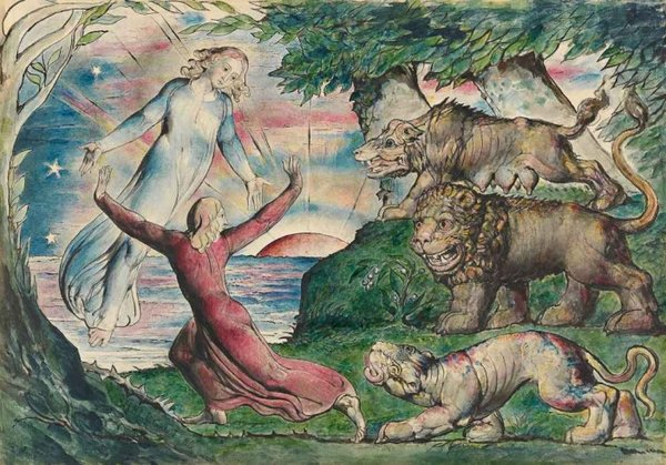 William Blake Dante running from the Three Beasts 1824–7