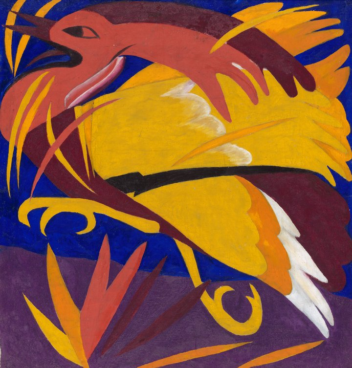 colourful image of a red, orange and yellow bird against a dark background