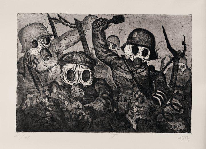 Otto Dix, Assault Troops Advance under Gas (Sturmtruppe geht unter Gas vor), 1924