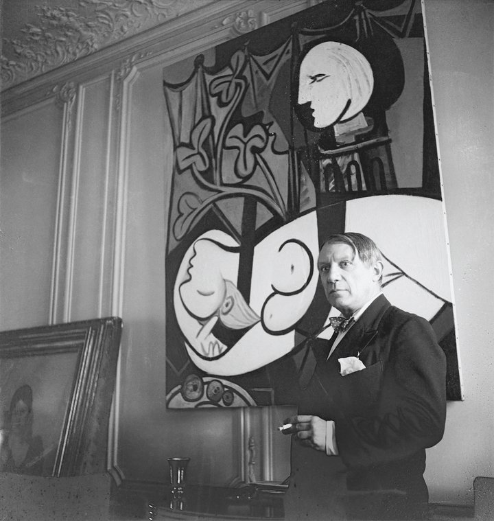 Pablo Picasso With His Painting Nude Green Leaves And Bust 1932 At Rue La Boetie