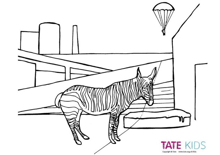 Colour in Zebra and Parachute  Colouring Book  Tate Kids
