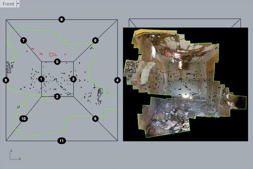 Fig.14 Architettura forense, Immagine da una ricostruzione di uno sciopero dei droni a Miranshah, Pakistan, 2014